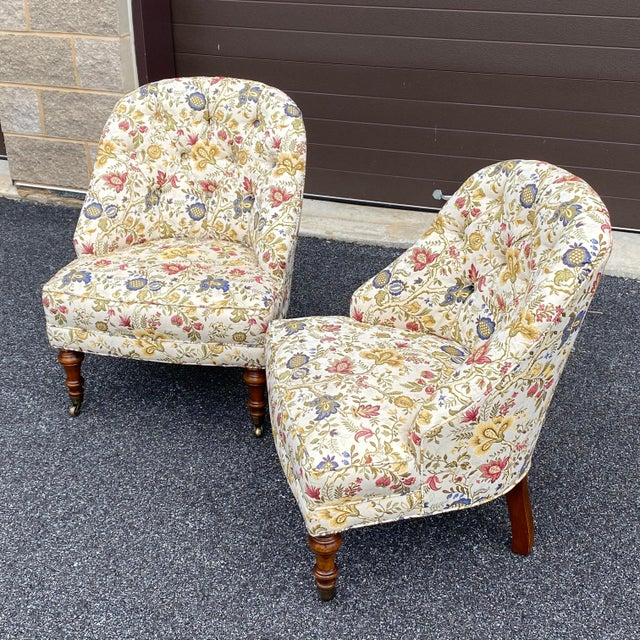 Metal Tufted Floral Slipper Chairs - a Pair For Sale - Image 7 of 13
