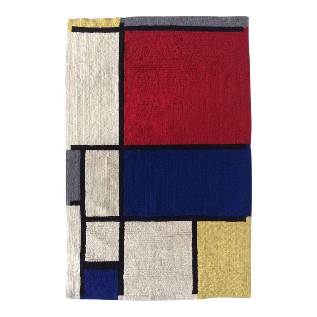 """Louis H.Guidetti Mondrian Hand-Hooked Rug - 3' x 4'6"""" For Sale"""