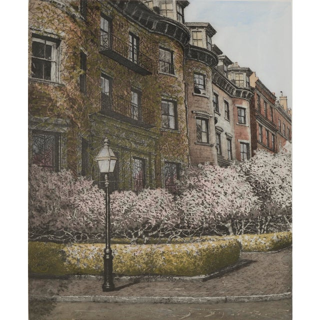 """Wonderful watercolor over an etching of Beacon Hill, Boston titled """"Magnolia"""" by John Collette (American, 1941-1997),..."""