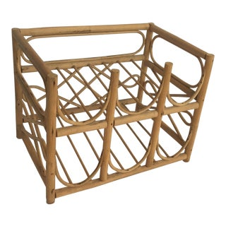 1970s Boho Chic Rattan Wine Rack For Sale