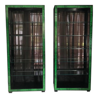 1980s Black Lacquered Wood and Faux Green Marble Inlay Bookcases - a Pair For Sale