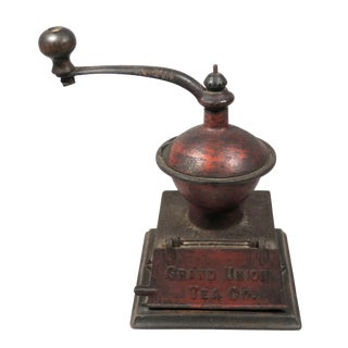 Antique Cast Iron Advertising Tea Coffee Grinder For Sale