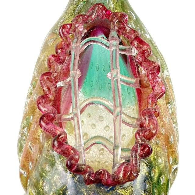 Green Poli Seguso Murano Rainbow Gold Flecks Italian Art Glass Duck Centrepiece Vase For Sale - Image 8 of 11