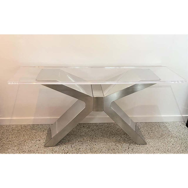 X-Form Console Table in Stainless Steel and Lucite For Sale - Image 9 of 13