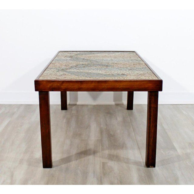 1960s Mid-Century Modern Birds Mosaic Tile Art Top Rectangular Wood Coffee Table, 1960s For Sale - Image 5 of 8