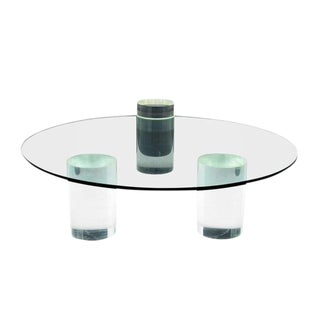 Lucite Column Coffee Table - in the Style of Charles Hollis Jones For Sale