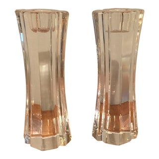 Orrefors Crystal Candlesticks - A Pair For Sale