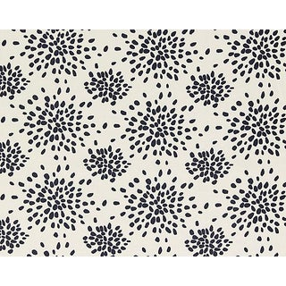 Hinson for the House of Scalamandre Fireworks Fabric in Black on Off-white For Sale