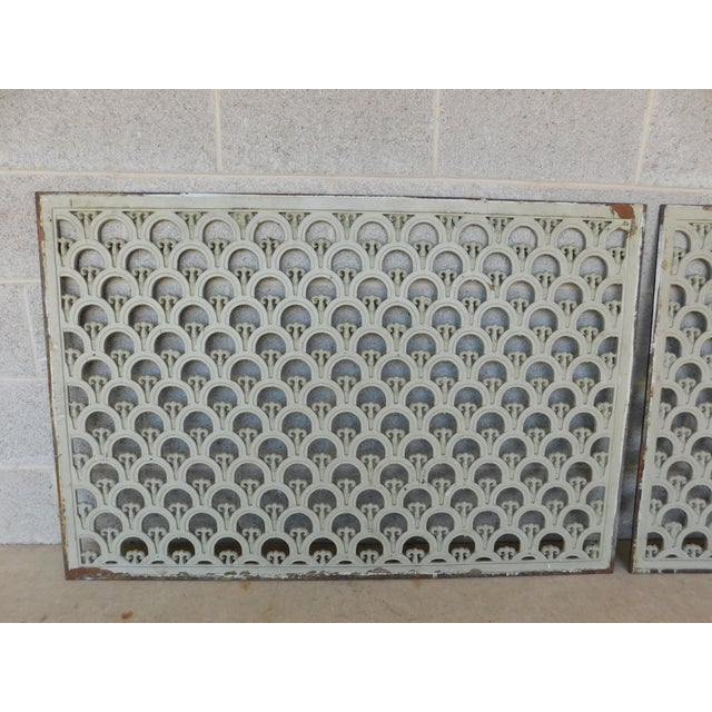 """Salvaged Original Large Grates - a Pair 46.5""""W x 31""""H Antique / Vintage Condition, original finish - see all photos - may..."""