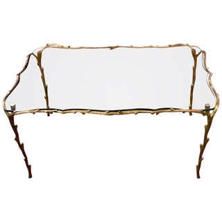 Faux Bois Bronze Coffee Table in the Manner of p.e. Guerin For Sale