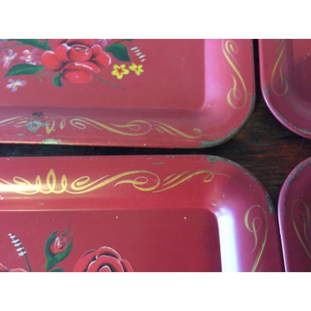 Red Rose Tole Trays - Set of 11 - Image 5 of 7