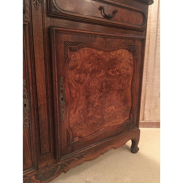Early 20th Century French Louis XV Style Carved Oak and Walnut Sideboard For Sale - Image 5 of 11