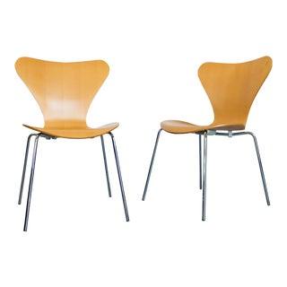 Arne Jacobsen Fritz Hansen Mid-Century Danish Modern Bentwood Dining Chairs - a Pair