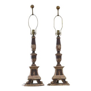 French Pricket Carved Wood Altar Stick Lamps - a Pair For Sale