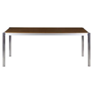 Rare Circa 1960s Jens Risom Oak and Aluminum Dining Table with Shamrock Legs