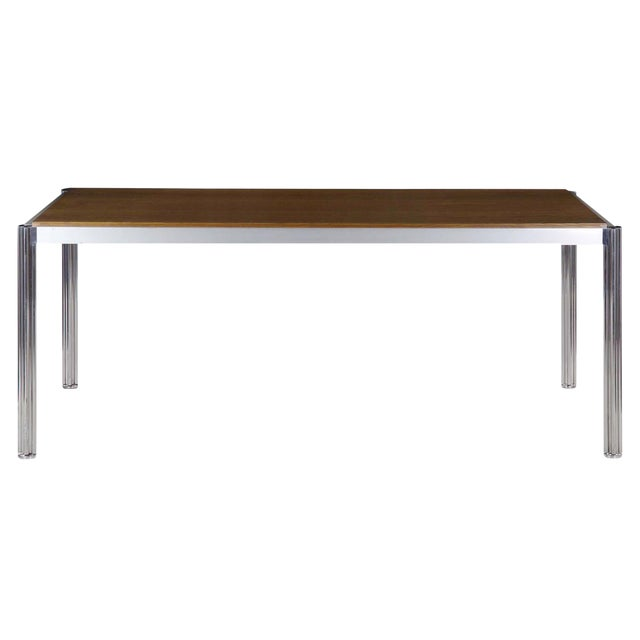 Rare Circa 1960s Jens Risom Oak and Aluminum Dining Table with Shamrock Legs For Sale