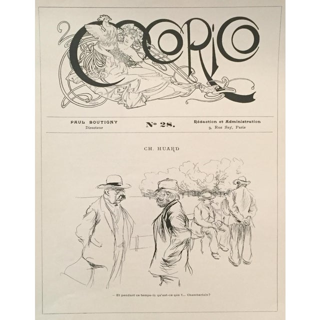 Vintage 1890 Cocorico Alphonse Mucha Lithograph For Sale