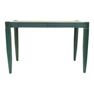 French Art Deco Revival Desk With Robin's Egg Blue Leather Top For Sale