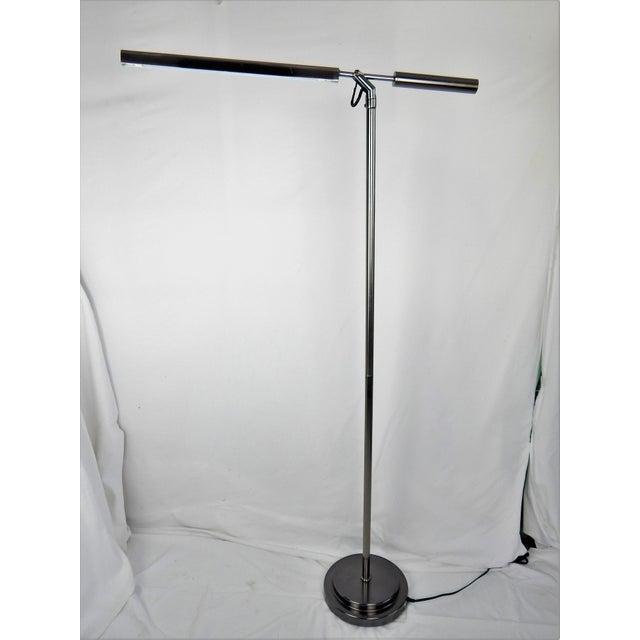 Modern Brushed Chrome Fluorescent Floor Lamp For Sale - Image 3 of 11