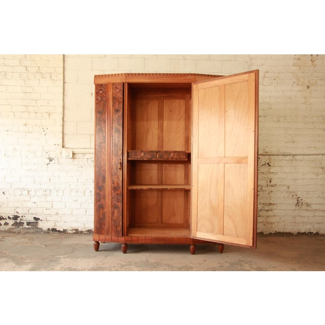 Vintage French Art Deco Burl Wood Mirrored Front Knockdown Wardrobe For Sale - Image 4 of 11