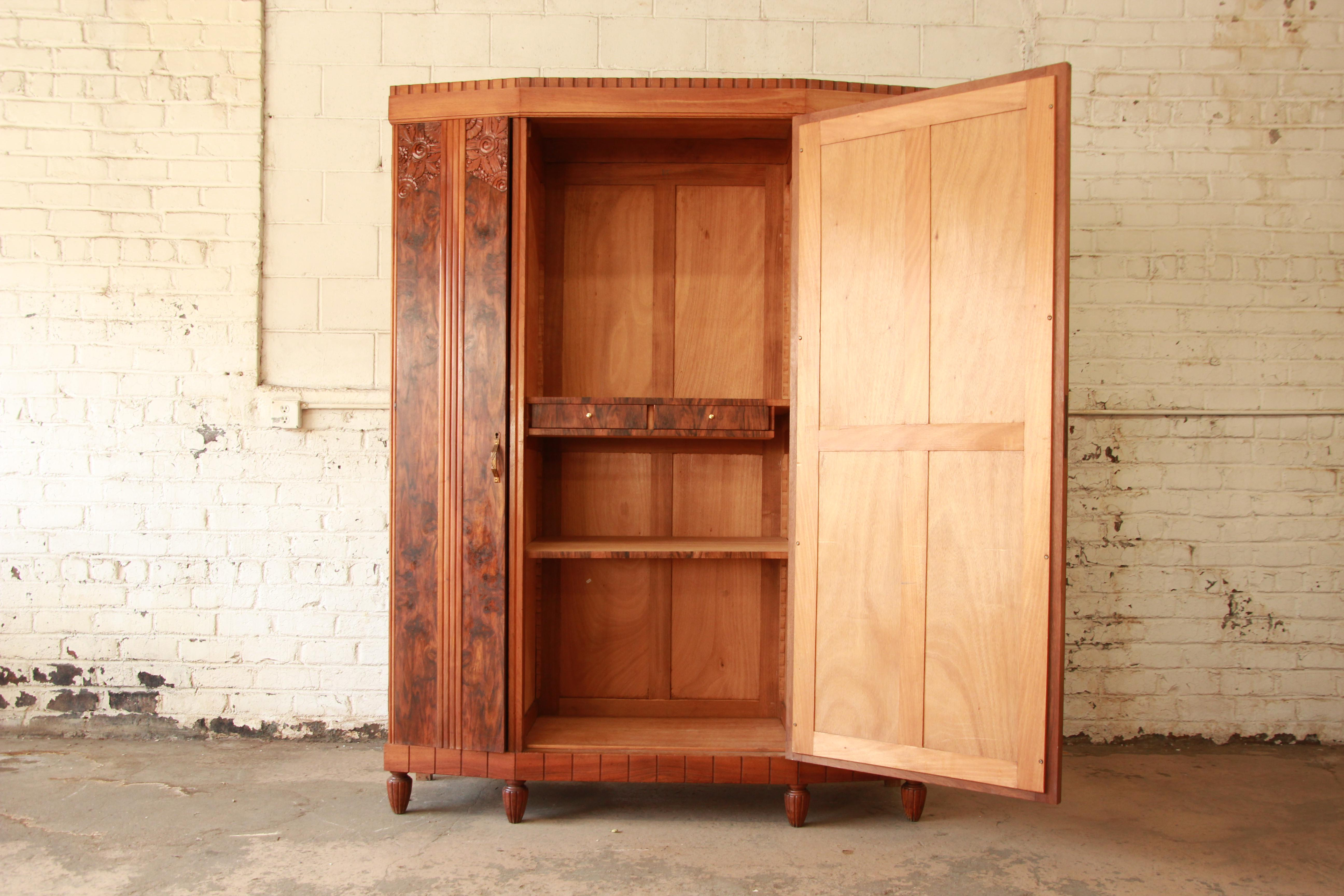 Vintage French Art Deco Burl Wood Mirrored Front Knockdown Wardrobe For  Sale   Image 4 Of