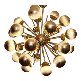 Midcentury Style Italian Sputnik Brass and Gold Murano Glass Chandelier For Sale
