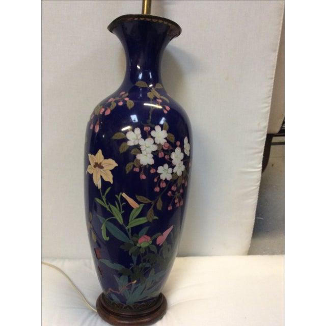 Blue Japanese Cloisonné Lamp For Sale - Image 7 of 11