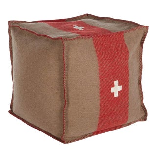 "Swiss Army Pouf, 24""X24""X24"", Brown/Red For Sale"