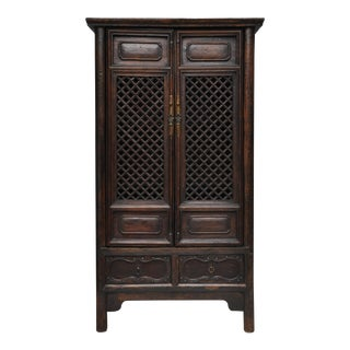 Antique Chinese Cabinet With Open Lattice Panel Doors