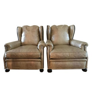 1940s Antique French Wingback Lounge Chairs- A Pair For Sale