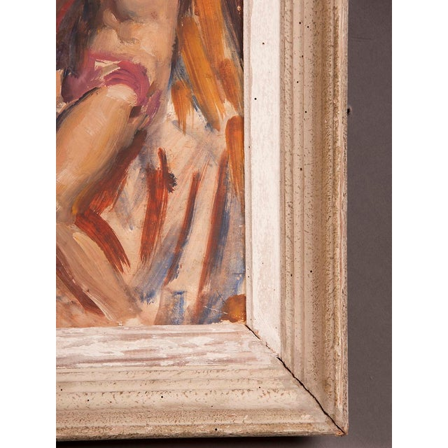 Canvas Signed painting by English artist Victor Hume of an Athlete, circa 1960 For Sale - Image 7 of 8