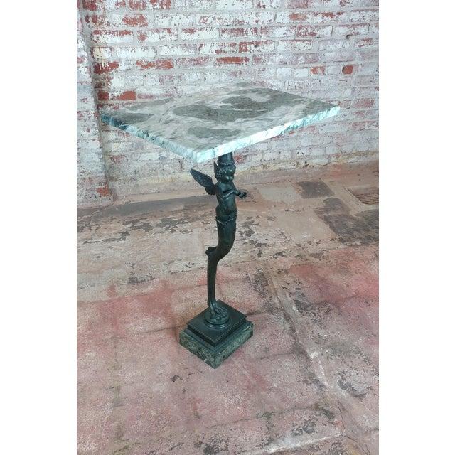 "Bronze Winged Cherub Console w/Marble top size 21 x 15 x 35"""