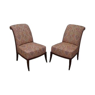 Quality Pair of Slipper Chairs with Ralph Lauren Upholstery For Sale