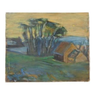 Expressionist Style Landscape of a Cabana With Palm Trees by the Water For Sale