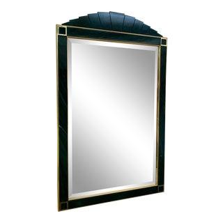 Faux Malachite & Brass Mirror For Sale
