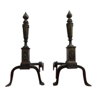 Antique Brass Regency Flame Andirons - a Pair