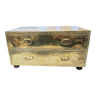 Sarreid Brass 2-Drawer Chest Trunk Coffee Table
