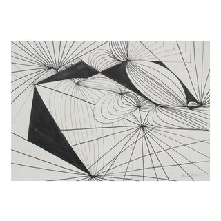 1965 Modernist Abstract In Ink Drawing For Sale