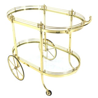 Two-Tier Polished Brass Glass Rolling Serving Bar Cart For Sale