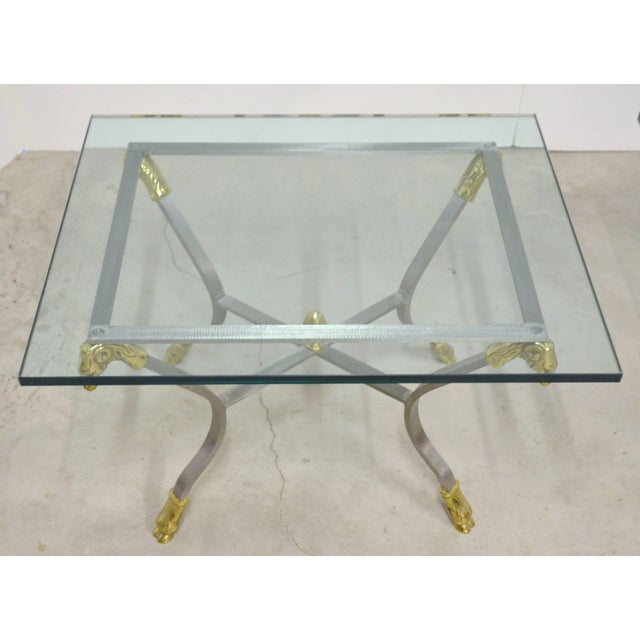 Pair of Steel, Brass and Glass Side Tables For Sale In Austin - Image 6 of 11