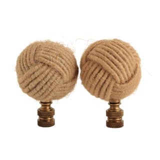 Jute Knot Lamp Finials, Pair For Sale