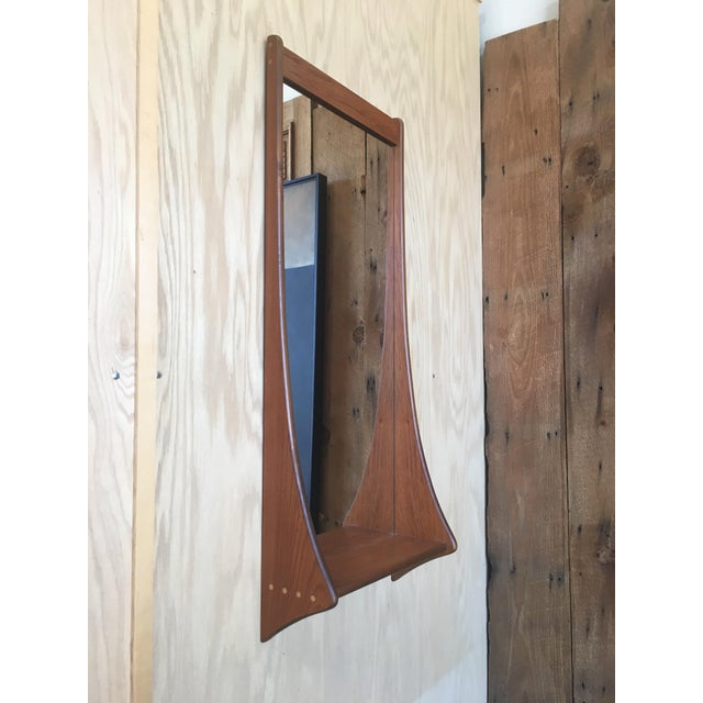 Mid 20th Century 1960s Vintage Walnut Entry Mirror For Sale - Image 5 of 11