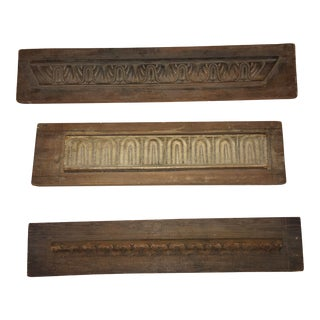 Architectural Vintage Wood Carving Details Panels - Set of 3 For Sale