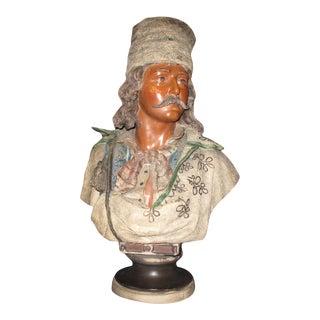 Vintage Friedrich Goldscheider Terracotta Russian Man Bust For Sale