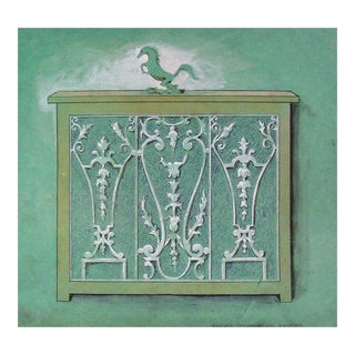 Original Wrought Iron Design Study Painting For Sale