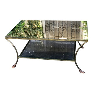 Art Deco Bronze Iron & Mirror Hoof Foot Coffee Table For Sale
