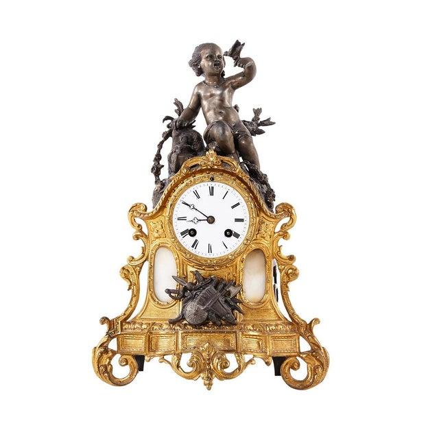 Metal Rococo Bronze Mantel Clock, 1900's For Sale - Image 7 of 7