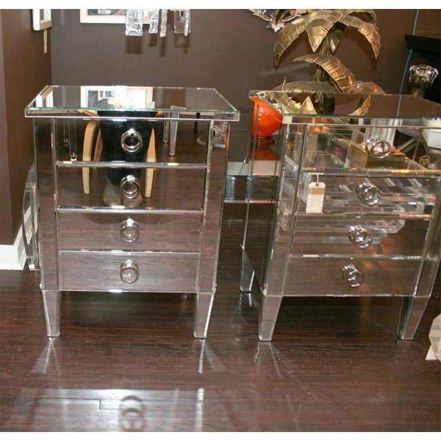 2000 - 2009 Pair of Custom Mirrored End Tables For Sale - Image 5 of 9