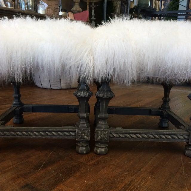 Angora Pelt Footstools - Pair - Image 5 of 6