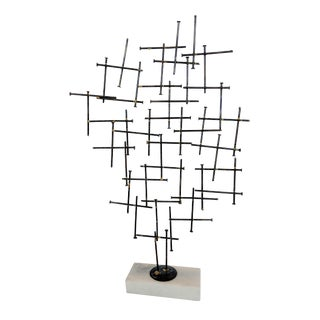Abstract Metal Sculpture on Gray Marble Base For Sale